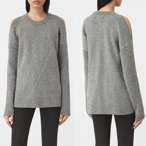 All Saints Terra Open Shoulder Gray Wool Sweater